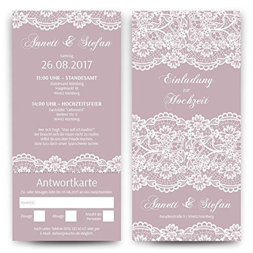 Hochzeitseinladungen mit Antwortkarte (30 Stück) - Spitze in Lila - Hochzeitskarten Tickets