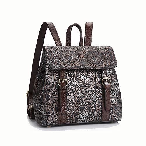 Angle-w Diseño elegante, viaje sencillo, mochila retro para mujer, de piel pulida a mano, para uso diario, con diseño de texto 'Let us go más allá' (color: plata, tamaño: 28 x 12 x 25 m)