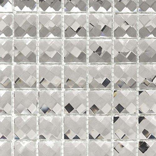 Mosaik Fliese Transluzent kristall Glasmosaik Crystal Glitzer silber BAD WC DUSCHE KÜCHE FLIESENSPIEGEL THEKENVERKLEIDUNG BADEWANNENVERKLEIDUNG Mosaikmatte Mosaikplatte