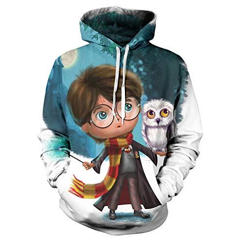 Sudaderas con Capucha Unisex HD 3D Harry Potter Sudaderas Ligeras con Bolsillos (S-4XL)