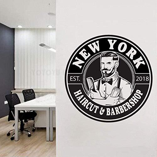 Barber Wandtattoo Aufkleber Personalisierter Name/Jahr Friseur Shop Mann Salon Haarschnitt Bart Gesicht Werkzeuge Logo Wandfenster Aufkleber 57 * 57Cm