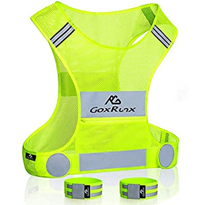Reflective Vest Running Gear, Lightweight Motorcycle Cycling Reflective Vests with Large Pocket & Adjustable Waist for Women Men Running Safety Vest with Reflective Bands (Green, Small)