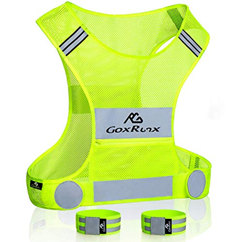 Reflective Vest Running Gear, Lightweight Motorcycle Cycling Reflective Vests with Large Pocket & Adjustable Waist for Women Men Running Safety Vest with Reflective Bands (Green, Medium)