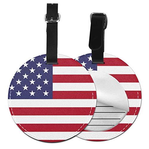 Kofferanhänger Inklusive Adressfeld, PU Leder Kofferschild, Gepäckschild für Koffer Tasche Rucksack USA Flagge 016