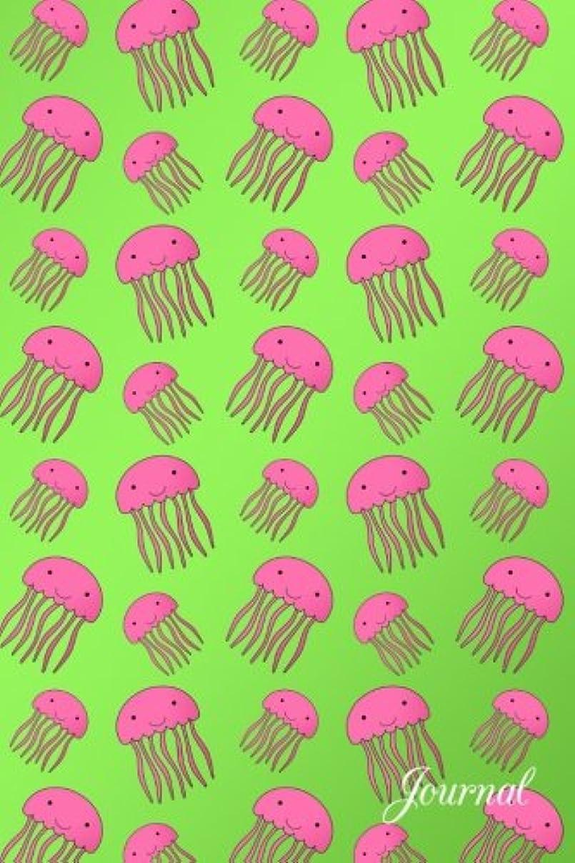 ホット三目に見えるJournal: Bright green cute pink jellyfish notebook