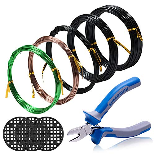 SPEEDWOX Bonsai Wire Kit 5 Rolls with 3 Size 1mm 1.5mm 2mm Aluminum Wire Total 164 Feet CR-V Bonsai Wire Cutter 3pcs Round Flower Pot Hole Mesh Pad Tree Traning Kit Bonsai Tree Wire Set Bonsai Tools