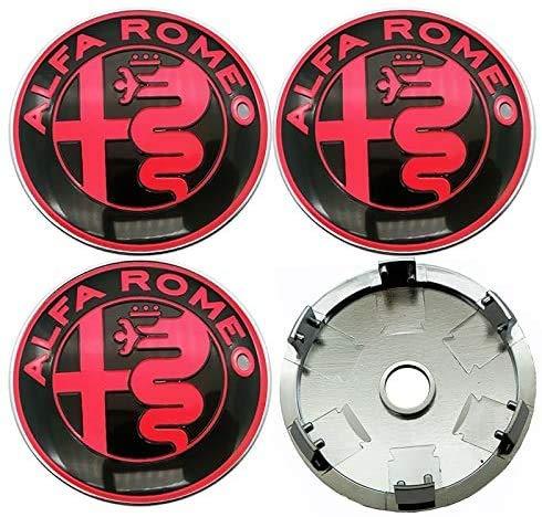 4 Pcs Tapas centrales llantas 60mm Centro Tapacubos para Alfa Alpha Romeo 159 147 156 Giulietta, Car Centrales Tapones Mediados Tapas de Llantas Cubo de la Rueda Logo Insignia