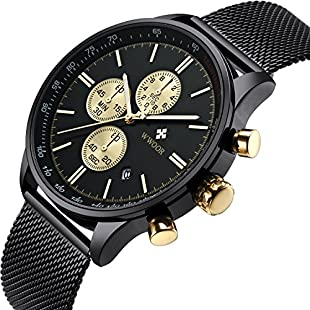 Luxury Mens Watches Chronograph Waterproof Black Mesh Stainless Steel Analogue Quartz Date Gold Toned Crown Wrist Watch for Men