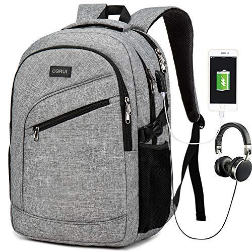 Laptoprugzak, zakelijke laptoptas voor heren en dames, waterdichte dagrugzak, schoolrugzak, reisdagrugzak met USB-aansluiting voor werk, school en zakenreis grijs