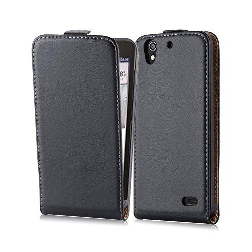 Cadorabo Funda para Huawei Ascend G630 in Negro ÓXIDO - Cubierta Proteccíon Estilo Flip de Cuero Sintético Estructuro - Etui Case Cover Carcasa