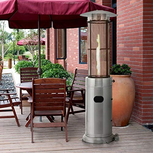 Fantastic Prices! Outdoor Heater 41000 BTU Garden Patio Stainless Steel Standing Propane Gas, Silver...