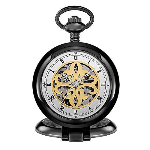Lwieui Reloj de Bolsillo Reloj de Bolsillo mecánico de la colección Classic Retro con Acabado Antiguo y Doble Cazador. (Color : White-Faced Black Shell)