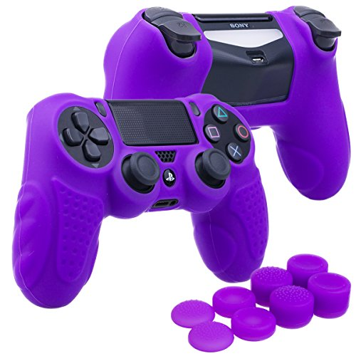 YoRHa Perfect Grip No Smell Silicone Cover Skin Case for Sony PS4/slim/Pro Dualshock 4 Controller x 1(Purple) with Pro Thumb Grips x 8