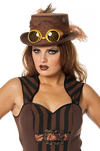 shoperama Steampunk Damen Zylinder mit Brille Federn und Zahnrädern Hut Goggles Burning Man, Farbe: Braun