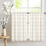 JINCHAN Kitchen Curtains 36 Inch Length Classic Plaid...