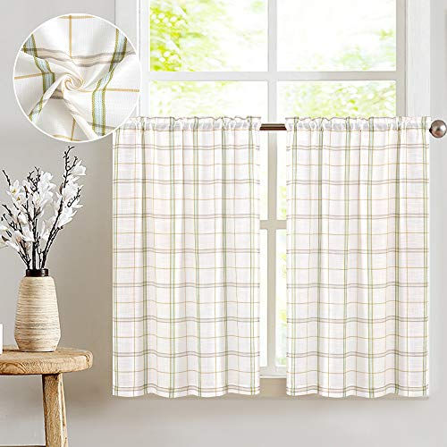Classic Plaid Kitchen Curtains Checkered Design Gingham Linen Textured Green and Taupe Striped Half Window Curtains for Bathroom, 2pcs 36 inches Length