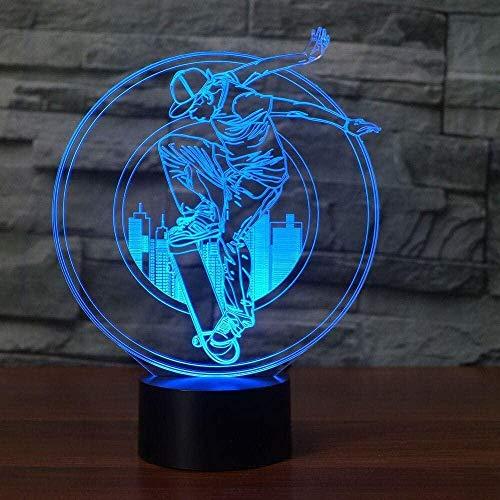 3D Ilusión Optica Luz Nocturna Decoración Tabla Lámpara De Escritorio Scooter 7 Colores Control Remoto Toque Juguetes Decoración Navidad Regalo De Cumpleaños