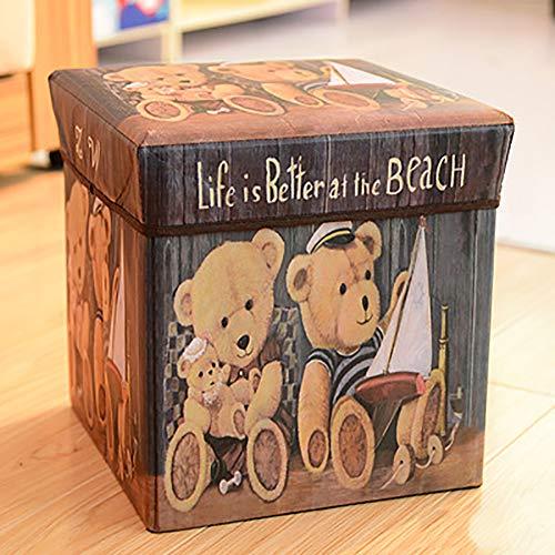 WOLF ES opvouwbare kruk, opbergbox voor speelgoed, geschikt voor woonkamer, slaapkamer, eetkamer, 30 x 30 x 30 cm