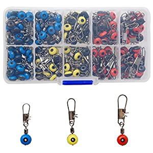Fishing Line Sinker Slides 150pcs Hook Shank Clip Swivels Snaps Connector for Freshwater Saltwater Small Fishing Accessories Kit with Tackle Box