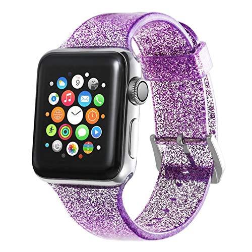YGGFA Correa de silicona para reloj Apple Watch 6 SE 5 4 3 bandas 42 mm 38 mm 44 mm 40 mm correa de reloj de pulsera accesorios (color de la correa: morado, ancho de la correa: para 42 mm 44 mm)