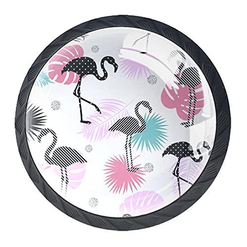 qfkj Tirador de la Perilla del cajón 4 Piezas El cajón del gabinete de Vidrio de Cristal Tira Las perillas del Armario,Flamingo y Hojas de Palma