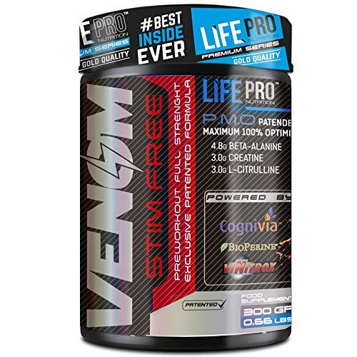 Life Pro New Venom Non Stimulant Pre Workout – Pre entreno sin cafeína ni estimulantes para mejorar la recuperación y el incremento de masa muscular – 300 gramos – Sabor cola