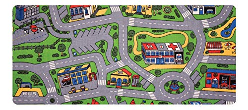 "Learning Carpets City Life Play Carpet, 79""x36"" Rect. Kids Playroom Road Rug, Classroom Furniture, Toddler Playmat Rug for Daycare/Homeschool, Multi Color (LC206)"