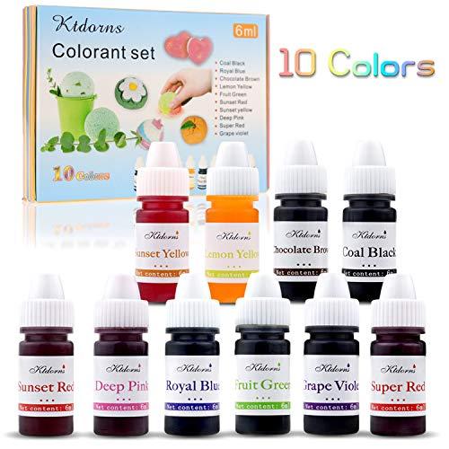 Seifenfarbe Set 10 farben- Lebensmittelqualität Seifenfarben Färbende Farbe Pigment für die Seifenherstellung, Regenbogen Flüssigseife für DIY Kit Badebomben, Schleim, Kunsthandwerk