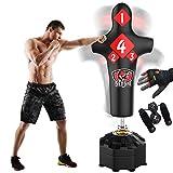 Senshi Japan Sac de frappe en cuir sur pied, de type mannequin, 1,8 m - pour l'entraînement et la pratique- fabriqué à partir de cuir et d'acier - sac de frappe pour arts martiaux, boxe thaïlandaise