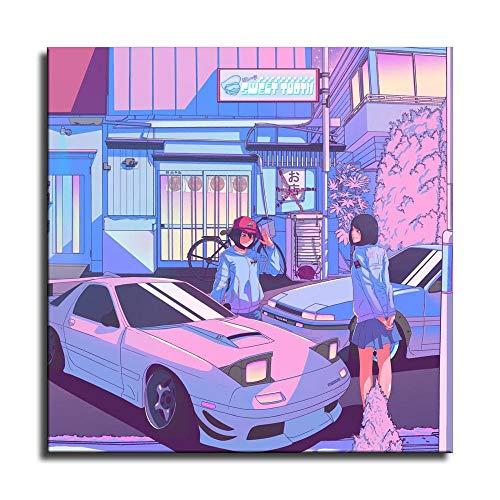 Auto-Poster JDM Autos und Mädchen Vaporwave Leinwand-Kunst-Poster und Wandkunst-Bild Druck abstrakte Bilder Gemälde Moderne Familie Schlafzimmer Dekor Poster