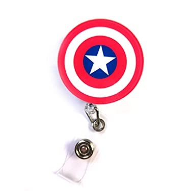 Captain America Shield ID Card Badge Retractable Badge Reel Badge Holder Clip on Card Holders (Red)