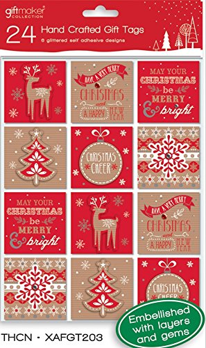 Pack de 24 moderno hecho a mano Navidad Peel & stick etiquetas de regalo – 6 diseños rojo dorado y plateado: Amazon.es: Hogar