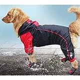 Anjing Chubasquero impermeable para perro, poncho impermeable reflectante, tamaño mediano y grande, color negro y rojo