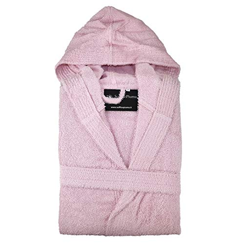 Albornoz suave confeccionado en rizo de algodón puro con capucha y 2 bolsillos laterales de rizo muy suave, fabricado en exclusiva para suave pluma