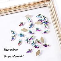 10ピースチャームネイルラインストーンクリスタルab平底ネイルダイヤモンド人魚菱形ガラス石のマニキュアネイルアートの装飾SA908 Mermaid4x8mm