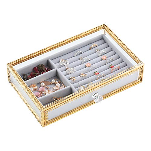 Decorative Jewelry Box, Antique Glass Jewelry Organizers with Removable Velvet Drawer Tray, Handmade Metal Brass Lace Edged Jewelry Case for Ring Necklace Showcase Keepsake