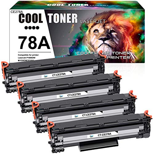 Cool Toner Compatible Toner Cartridge Replacement for HP 78A CE278A Toner HP Laserjet 1536dnf MFP P1606dn 1606dn P1606 HP Laserjet MFP M1536dnf P1566 P1560 Toner Cartridge Printer Ink (Black, 4-Pack)