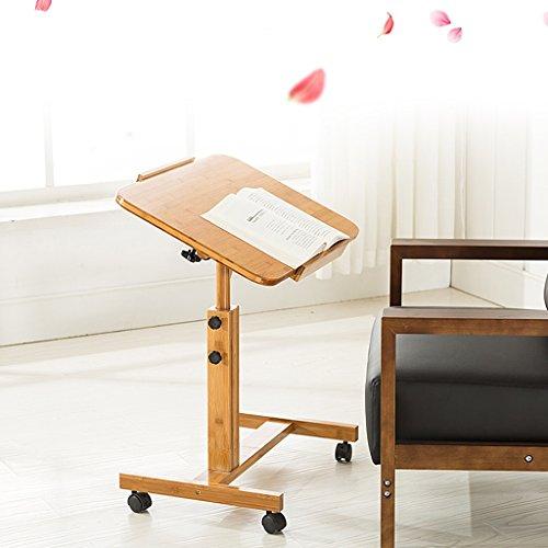 Table d'ordinateur portable pliante chevet pour petits espaces Bureau d'étude 100% bambou pour enfants Bureau d'ordinateur rotatif réglable en hauteur 360 ° (taille : 60 cm)