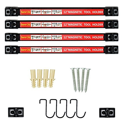 Senrob 4 PCS 12' Magnetic Tool Holder Bar Racks,Metal Magnet Storage Tool Organizer Set with Mounting Brackets&Screws