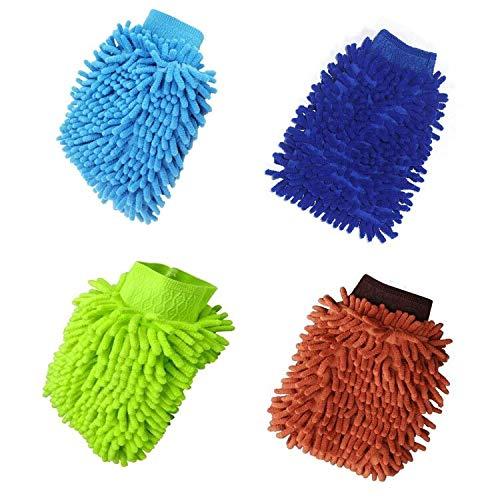 Manopla de microfibra para lavado de coche, 4 unidades, guantes de lavado de microfibra de doble cara, paños de fideos de microfibra para limpieza de automóviles y limpieza del hogar (color al azar)