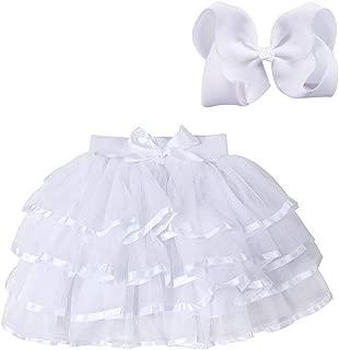 4 Layered Tulle Tutu Skirt for Girls with Hairbow or Birthday Sash,Girl Ballet Tutu Skirt