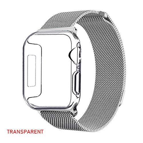keyu Caso Pulsera Milanese 42 mm + 38 mm para la Serie iWatch de Apple 3 2 1 40 milímetros por 44 milímetros Accesorios Banda Wristband h 4 Pulseira Manzana,sobre Transparente,42MM-321 se apli.