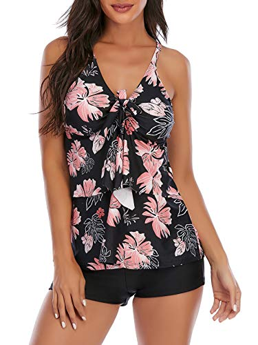 Tankini Swimsuits for Women Two Piece Bathing Suits Floral Print Tank Top with Boyshorts Tummy Control Swimming Suits Pink Print 12-14