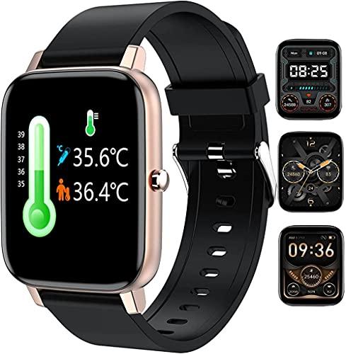 Relojes inteligentes para hombre y mujer, medición de la temperatura corporal, monitoreo de calorías de datos de ejercicio, pulsera deportiva inteligente, monitoreo del sueño, reloj de fitness dorado