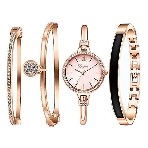 Clastyle Conjunto Reloj y Pulsera Mujer Oro Rosa Clásico Relojes Mujeres Diamantes de Imitación con 3 Brazaletes, Rosa