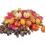 E-Bestar 158 unidades de calabazas artificiales de otoño, minicalabazas, hojas, bellotas y otoño, kit de decoración de mesa para fiestas de Halloween