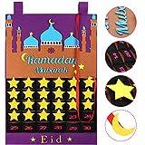 OurWarm Advent Calendar 2021 Ramadan Decorations, Ramadan Calendar 30 Days Eid Mubarak Hanging Felt Countdown Calendar for Kids Eid Gifts Ramadan Decorations, Purple