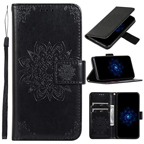 Hülle Handyhülle for Huawei P30 Lite/nova 4e, Premium Leder Flip Schutzhülle [Standfunktion] [Kartenfächer] [Magnetverschluss] lederhülle klapphülle für Huawei P30Lite - TTCDD010362 Schwarz