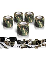 WEEYEE Camo Tape Fabric Wrap,Zelfklevende Beschermende Camouflage Tape Wrap,Tactische Multifunctionele Niet-geweven Stof Stealth Tape Stretch Bandage voor Outdoor Militaire Jacht, Lengte 4.5m, 5-Pack