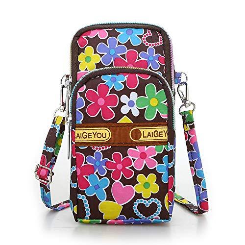 Idefair Bolso bandolera floral para niñas y niñas Bolso bandolera para teléfono móvil Bolso de algodón para teléfono móvil para llevar tarjeta Bolso para teléfono móvil Monedero (Rosado)